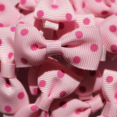 Pink polka dot bow hair clips party bag deals by lottie nottie