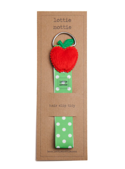 Green Spotty Hair Clip Tidy with Red Apple