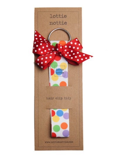 Multicoloured Spotty Hair Clip Tidy with Red Bow
