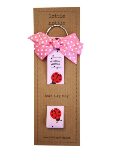 Pink Ladybird Hair Clip Tidy with Pink Spotty Bow