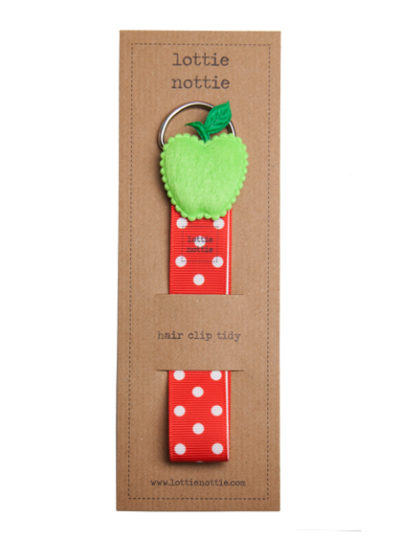 Red Spotty Hair Clip Tidy with Green Apple