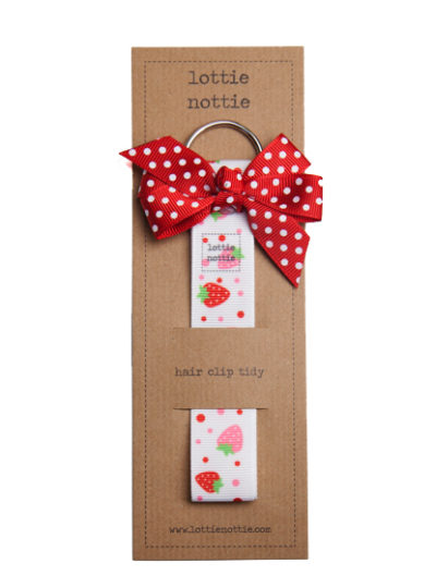 Strawberry Hair Clip Tidy with Red Spotty Bow