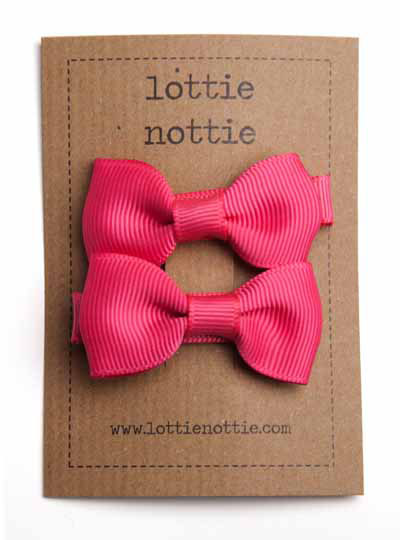 Bright Pink Small Bow Hair Clips