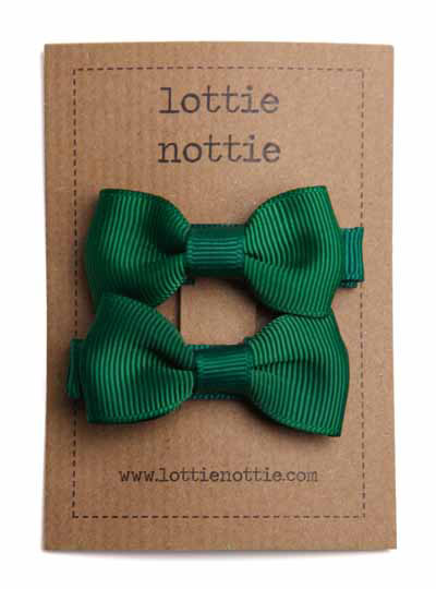 Dark Green Small Bow Hair Clips