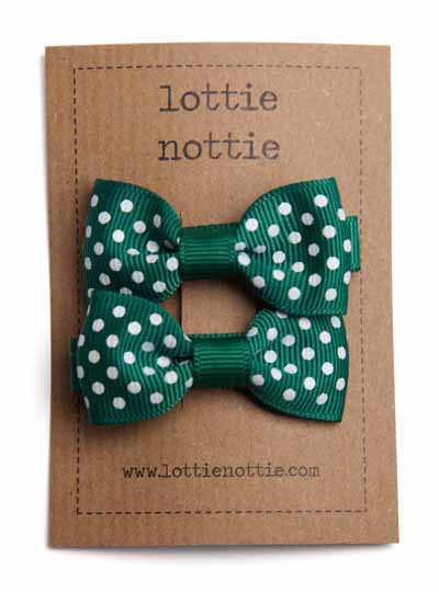 Dark Green Swiss Dot Small Bow Hair Clips