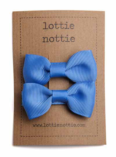 French Blue Small Bow Hair Clips