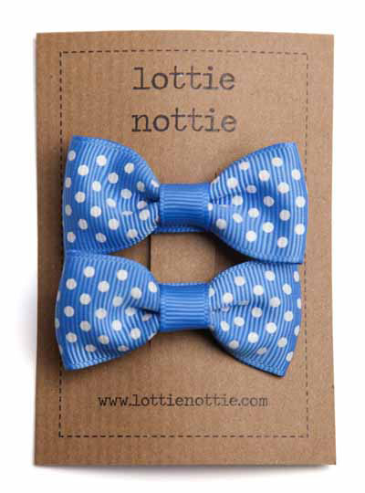 French Blue Swiss Dot Small Bow Hair Clips