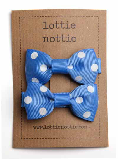 French Blue and White Polka Dot Small Bow Hair Clip
