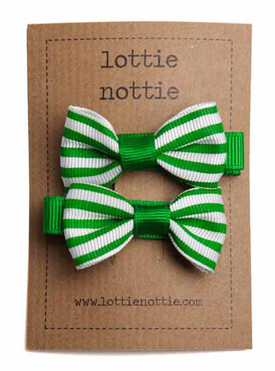 Green and White Stripe Small Bow Hair Clip