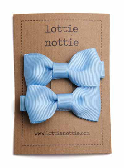 Light Blue Small Bow Hair Clips