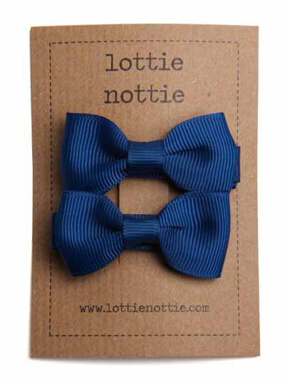 Navy Blue Small Bow Hair Clips