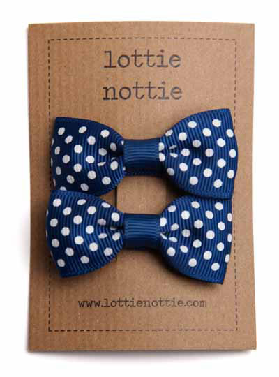 Navy Blue Swiss Dot Small Bow Hair Clips