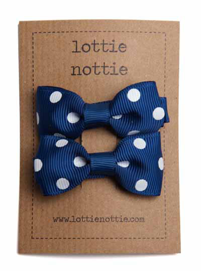 Navy and White Polka Dot Spotty Small Bow Hair Clip