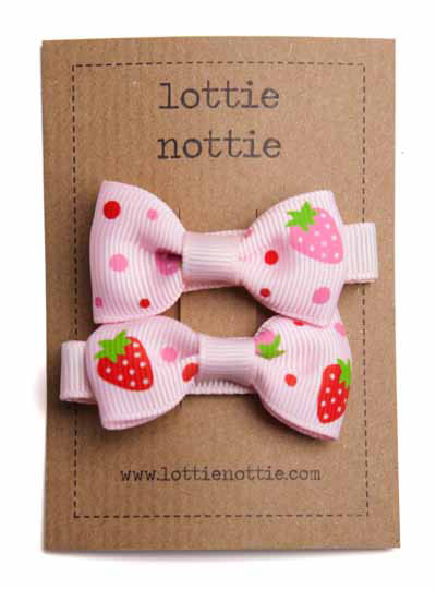Pink Strawberry Small Bow Hair Clips