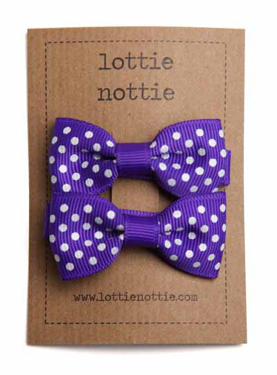 Purple Swiss Dot Small Bow Hair Clips