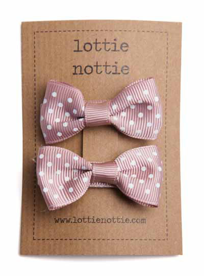 Putty Pink Swiss Dot Small Bow Hair Clips