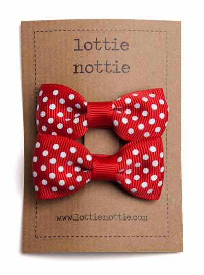 Red Swiss Dot Small Bow Hair Clips