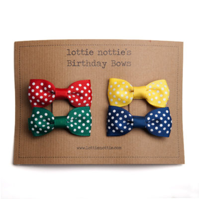 Birthday Bows Swiss Dots Primary Coloured Selection.