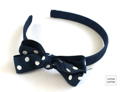 Alice Band Polka Dot Navy