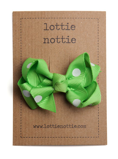 Bright Green Polka Dot Twist Bow Hair Clip