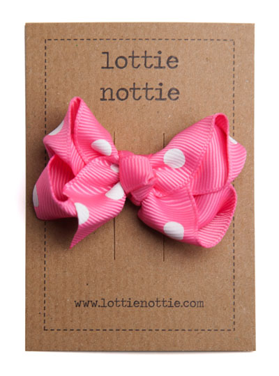 Bright Pink Polka Dot Twist Bow Hair Clip