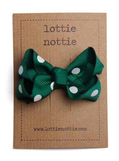 Dark Green Polka Dot Twist Bow Hair Clip