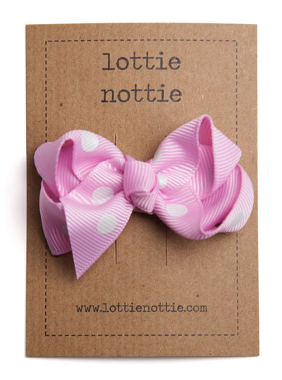 Dusty Pink Polka Dot Twist Bow Hair Clip