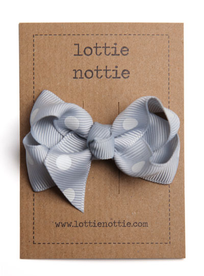 Grey Polka Dot Twist Bow Hair Clip