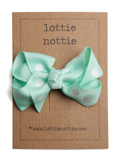 Mint Green Polka Dot Twist Bow Hair Clip