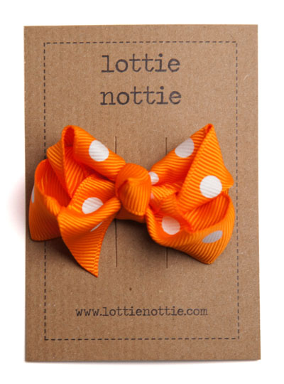 Orange Polka Dot Twist Bow Hair Clip