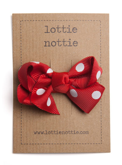 Red Polka Dot Twist Bow Hair Clip