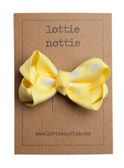 Yellow Polka Dot Twist Bow Hair Clip