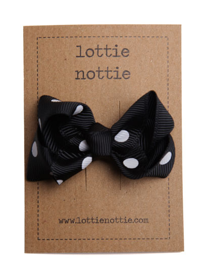 Black Polka Dot Spotty Twist Bow Hair Clip