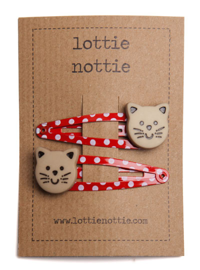 Cats on Polka Dot Spotty Red Snap Hair Clips