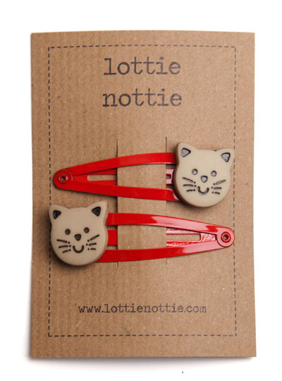 Cats on Red Snap Hair Clips