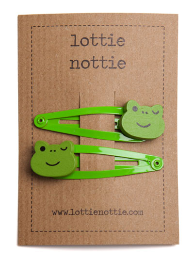 Frogs on Bright Green Snap Hair Clips