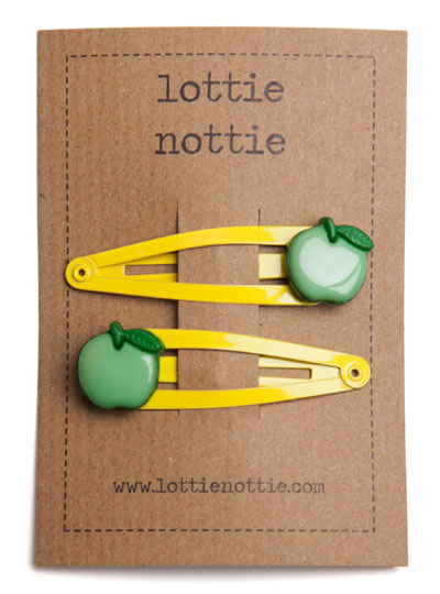 Green Apples on Yellow Snap Hair Clips