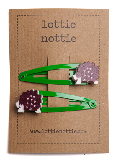 Hedgehogs on Bright Green Snap Hair Clips