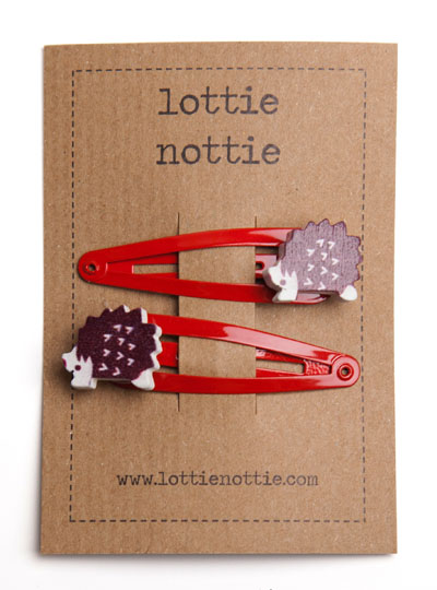 Hedgehogs on Red Snal Hair Clips