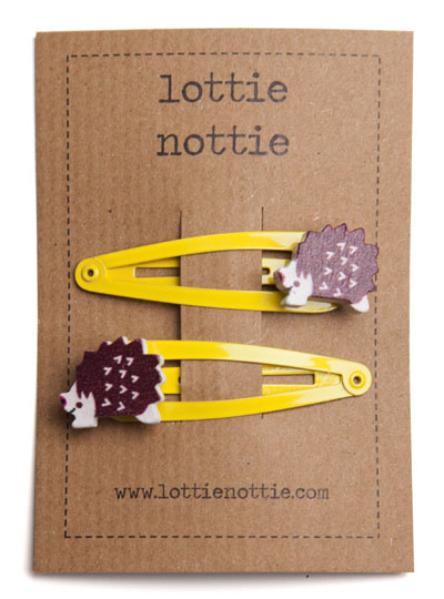 Hedgehogs on Yellow Snap Hair Clips