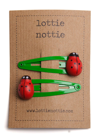 Ladybirds on Bright Green Snap Hair Clips