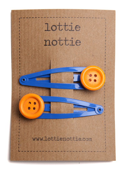 Orange Buttons on Bright Blue Snap Hair Clips