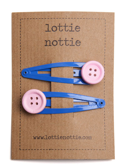 Pink Buttons on Bright Blue Snap Hair Clips
