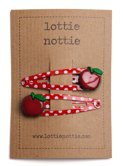Red Apples on Red Polka Dot Spotty Snap Hair Clips