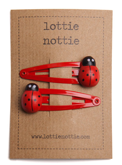 Red Ladybirds on Red Snap Hair Clips