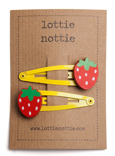 Red Strawberry on Yellow Snap Hair Clips