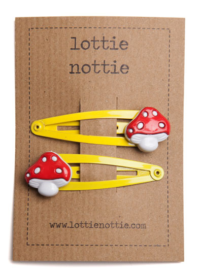 Red and White Toadstools on Yellow Snap Hair Clips