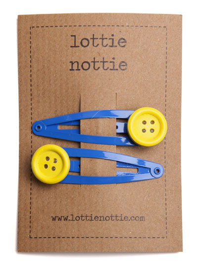 Yellow Buttons on Bright Blue Hair Clips