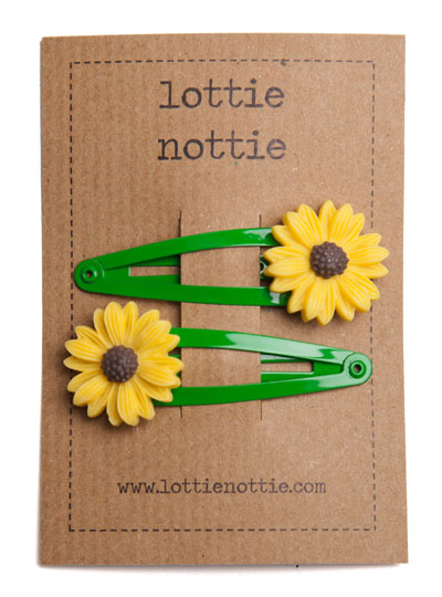 Yellow Sunflowers on Green Snap Hair Clips