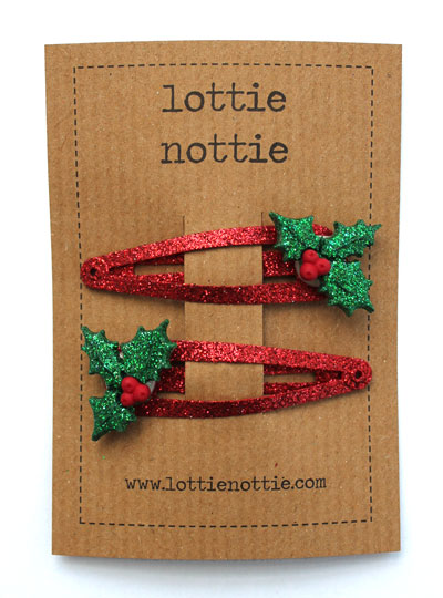 Sparkly Red Holly Clips